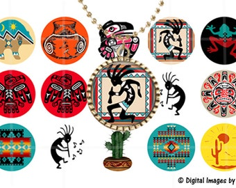 Southwestern Native American bottle cap images for pendants, Printable Digital Collage Sheet 1inch round jewelry making,circle collage sheet