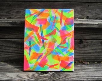 8x10 Neons Abstract Acrylic Canvas Art