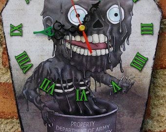 Wooden wall coffin-clock - Tarman (The return of the living dead)- Zombies movie.