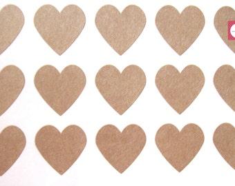 Heart Stickers 108, Kraft Mini Heart Favor Stickers, Envelope Seals, One Sheet.