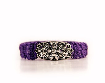 purple bracelet - crocheted - crochet jewelry - boho jewelry - bohemian bracelet - crochet bracelets - fiber jewelry - MudenoMade