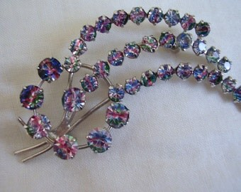 Iris Rainbow Glass Brooch Catherine Wheel Spinning Firework Claw-set Vintage 1950's Pin