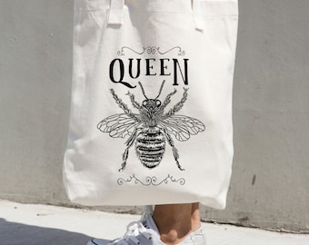 Tote Bag Queen Bee Print Funny Quote Boss Market Grocery Bag Totes Cotton Canvas Black and White Gift for Boss Girlfriend Cute Insect Beach