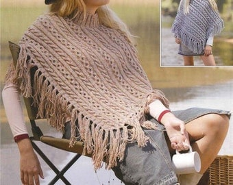 womens and childs poncho dk knitting pattern 99p pdf