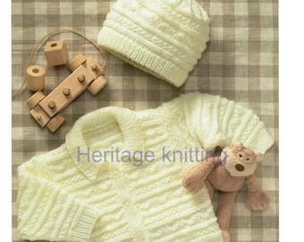 baby / child jacket and hat dk knitting pattern 99p pdf