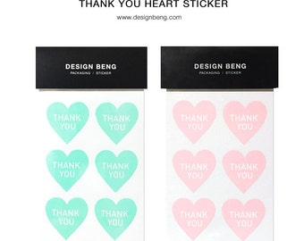 24 Thank you heart stickers
