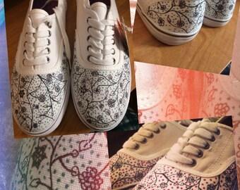 Spring Floral Doodle Canvas SHoes