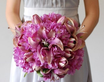 Lilies,Tulips and Hydrangea Silk Bridal Bouquet