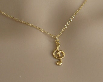 Necklace musical gold, gold filled necklace, necklace gold filled 14k, pendant musical note, bridesmaid jewelry, jewelry gift