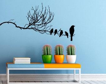 Birds on Branch Wall Decal Flock Of Birds Decals Vinyl Stickers Animals Interior Design Art Murals Housewares Bedroom Wall Decor (4b01s)