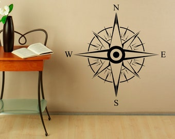 Compass Rose Wall Decal Nautical Compass Vinyl Sticker Navigation Tool Home Interior Design Art Wall Murals Bedroom Decor (7c01s)