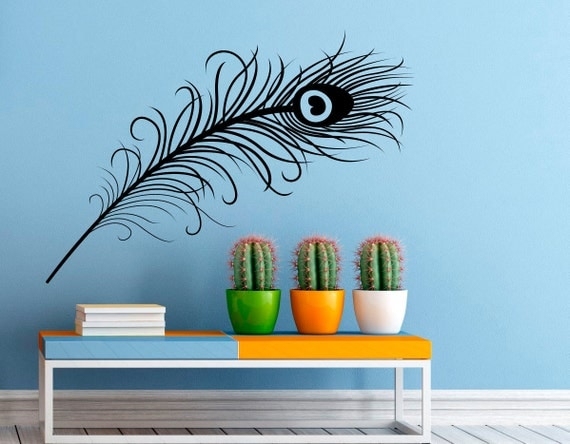 peacock feather wall decal vinyl stickers bird plumage peacock vinyl wall sticker by oakdene designs