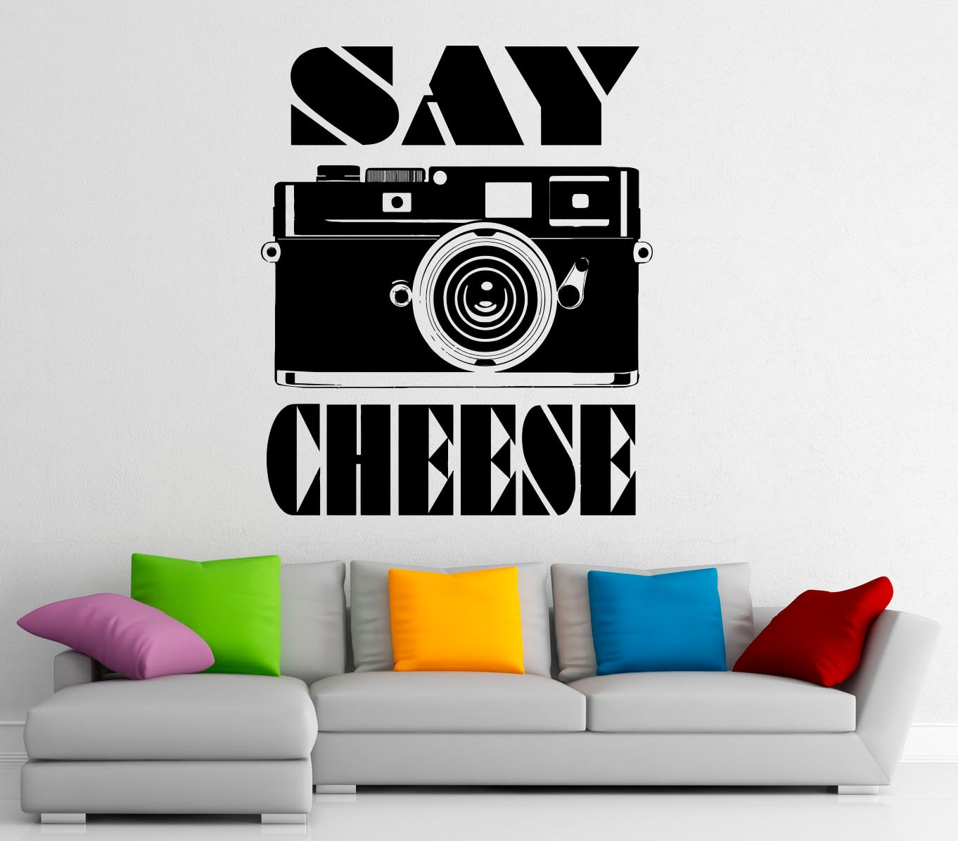 camera wall decal say cheese vinyl stickers photo studio. Black Bedroom Furniture Sets. Home Design Ideas