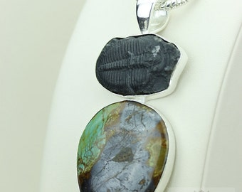 4.5 inch ROYSTON TURQUOISE Mystic Topaz TRILOBITE 925 Solid Sterling Silver Pendant + 4mm Snake Chain mp462