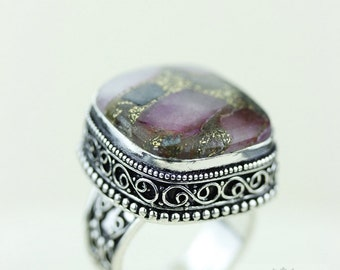 Size 8.5 - Tourmaline Aggregate 925 S0LID (Nickel Free) Sterling Silver Vintage Setting Ring & FREE Worldwide Express Shipping R1793