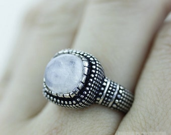 SIZE 6 Ceylon MOONSTONE 925 S0LID (Nickel Free) Sterling Silver Vintage Setting Ring & FREE Worldwide Express Shipping r1765