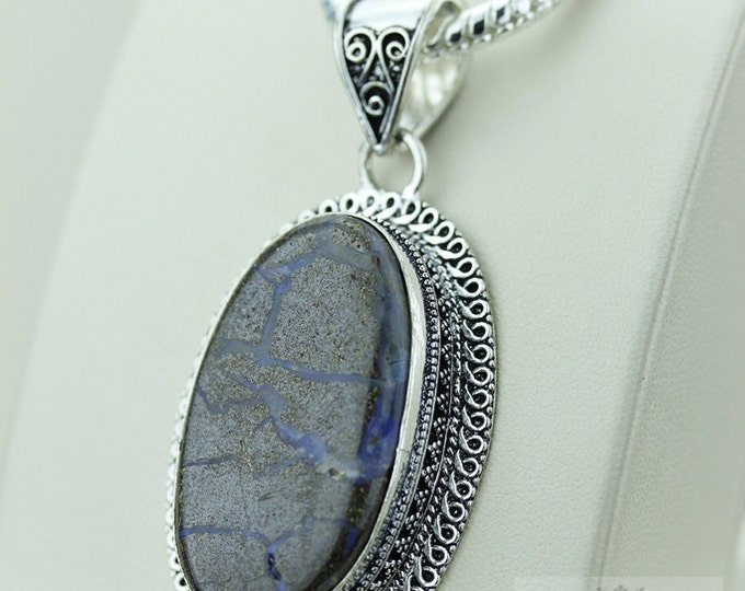BOULDER Opal 925 S0LID Sterling Silver Vintage Style Setting Pendant + 4mm Snake Chain & Free Worldwide Shipping p2541