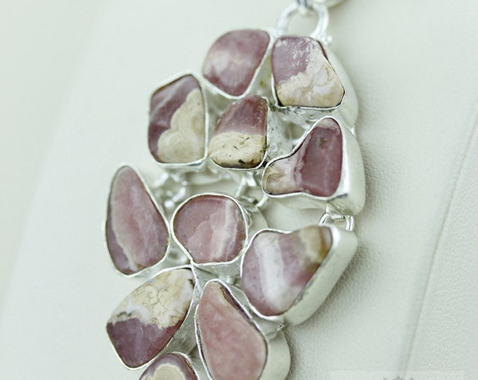 GENUINE ARGENTINA RHODOCHROSITE 925 S0LID Sterling Silver Pendant + 4mm Snake Chain & Free Worldwide Express Shipping p1451