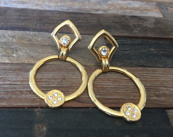 1980's Vintage, GLAM Gold Dangle Costume Earrings w/ Accented Crystal Rhinestones