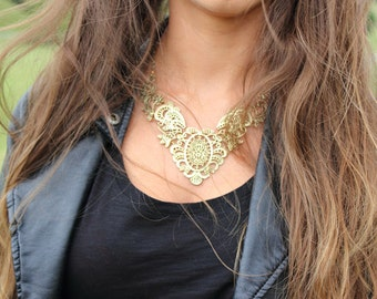 Gold Bib Necklace, Gold Statement Necklace, Gold Tribal Necklace, Gold Vintage Necklace, Gold Antique Necklace, Gold Choker Necklace