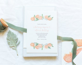 Wedding Invitation Suite - Peach Peonies - Watercolor - Whitney Suite