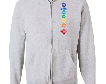 Yoga Clothing For You Mens Hoodie Floral Chakras Full Zip Hoody - 993-FLORAL