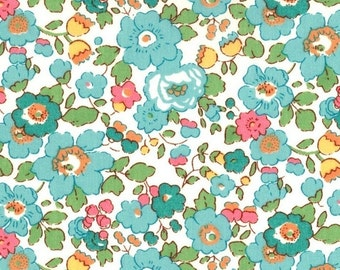 """Betsy D Liberty Fabric scrap tana lawn turquoise white pink yellow green 10"""" x 10"""" square (25,4 cm x 25,4 cm) The Weavers Mill"""