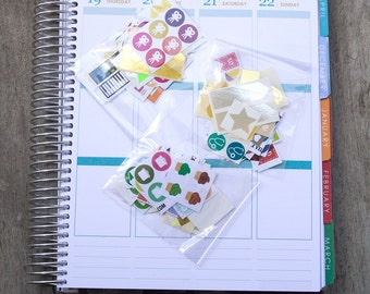 Grab bag: mix mystery colorful stickers, planner stickers, journal reminder checklist sticker, plumpaper eclp filofax happy planner