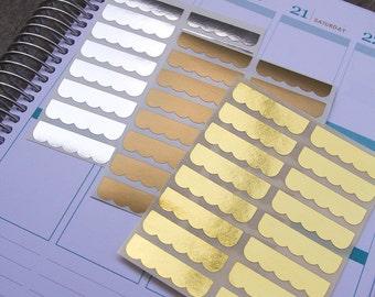 48 box topper stickers with ruffles, metallic gold silver stickers, planner stickers, scrapbook sticker, reminder checklist sticker