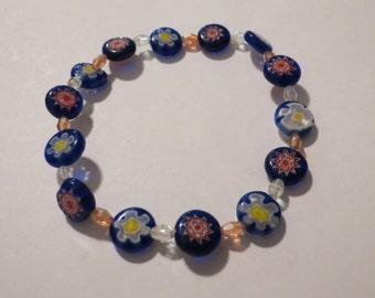 Sapphire Milifore & Amber Glass Lentil Bracelet