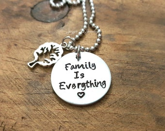 Family Is Everything Necklace with Family Tree Charm, Hand Stamped Gift For Her, Family Tree, Handstamped Pendant with Tree Charm