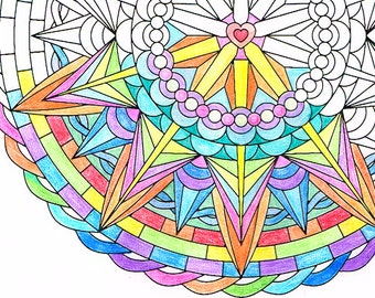 Mandala Coloring Page - Radiant Heart - instant download metta meditation