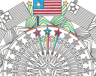 Independence Day Coloring Page - Patriotic American 4th of July mandala coloring page to print and color
