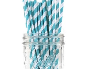 Teal Blue Striped Paper Straws