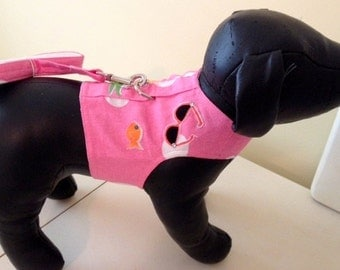 XXSmall Dog Harness in Pink and Blue.  matching leash included