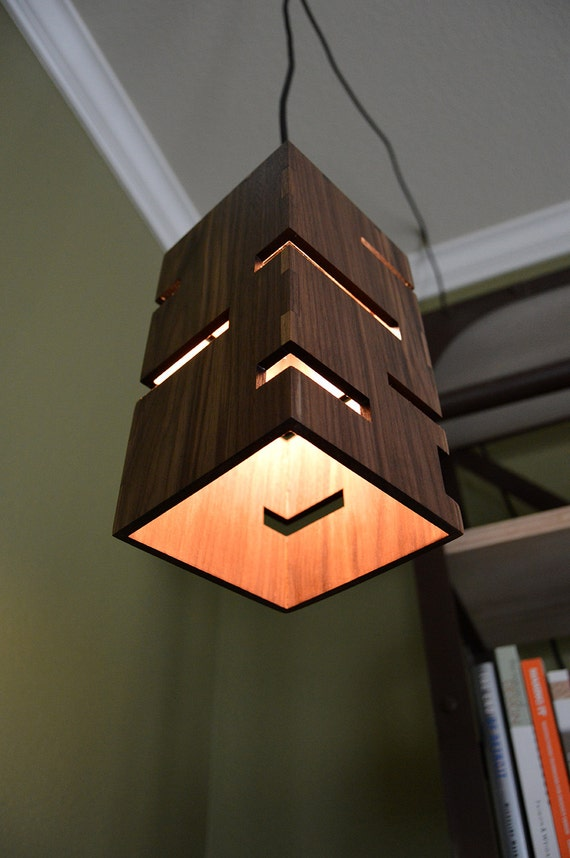 Wooden Wall Lamps Designs : Geometric Wooden Pendant Light