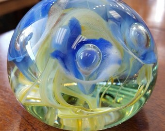Glass Paperweight - Blue and Yellow Flower Swirl Pattern - Beautiful!