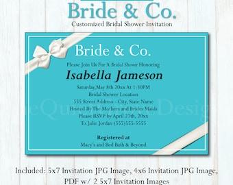 Customized Bride & Co Bridal Shower Invitation, Classic, Blue, White, (DIGITAL FILE) No. 225