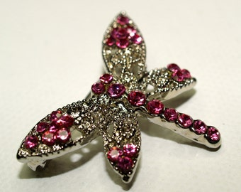 Vintage Pink Rhinestone and Silver Tone Dragonfly Pin