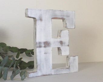 Letter E white wooden patinated to ask. Personalized decoration, wedding, birthday, birthstone