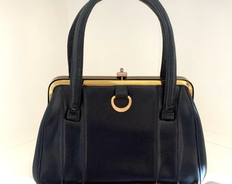 Navy and Gold Vintage Hand Bag, Ladies Purse, Metal Frame Purse