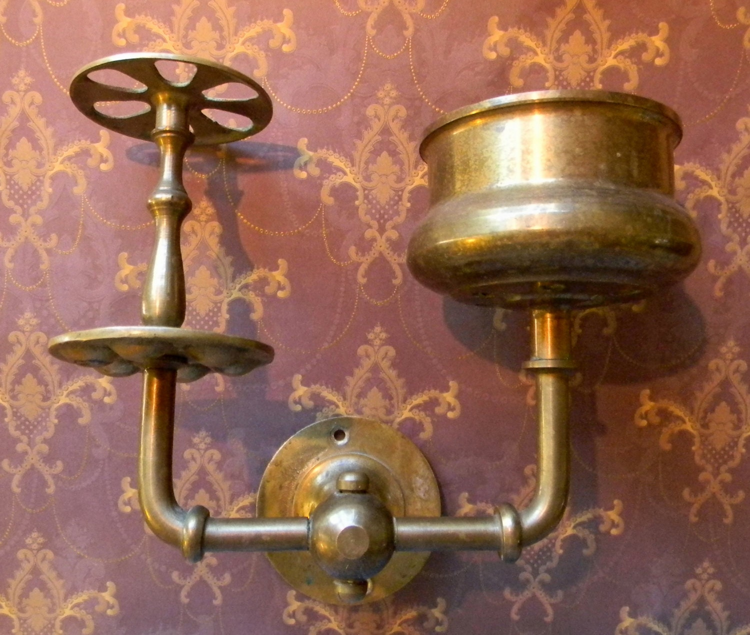 Amazing Antique Solid Brass Toothbrush Holder With Cup Holder