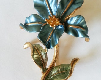 Brooch, Multicolor   Brooch, Blue Flower  Brooch ,Enamel  metal brooch, Floral Brooch,Elegant Style  Brooch