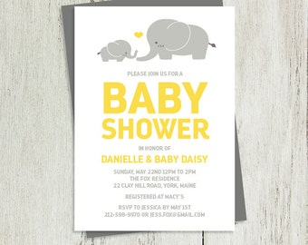 Elephant Baby Shower Invitation DIY // Gray and Yellow // Gray Elephant, Yellow Heart // Printable PDF ▷ Baby Shower Invite Printable