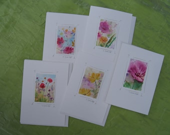 Watercolor notecards, handmade, hand-painted, original watercolor flower paintings, tiny paintings, Not Prints.