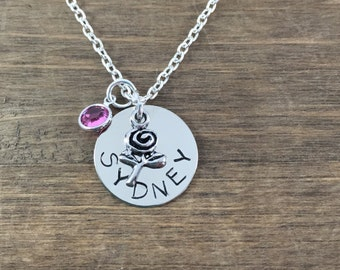 Personalized Flower Necklace - Handstamped Flower Necklace - Girl Name Necklace - Flowergirl Necklace - Flowergirl Gift