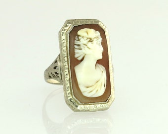 Art Deco 14k White Gold Hand Carved Cameo Secret Compartment Ring 4.6g
