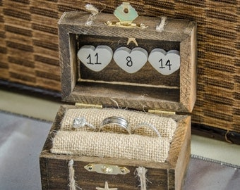 Rustic Wedding Ring Box ~ Engagement Ring Box ~ Beach Proposal ~ Personalized ~ Ring Bearer ~ Ring Holder ~ Destination Wedding ~ Starfish