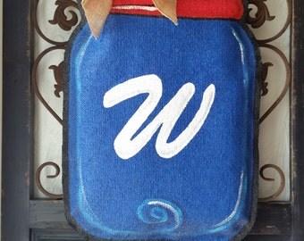 Patriotic theme Mason jar burlap door hanger, Spring or summer welcome sign, or wreath