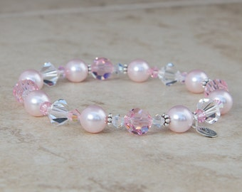 Pink Pearl Bracelet, Bridesmaid Gift with Swarovski® Crystal, Rose Quartz Wedding, Pink Bridesmaid Jewelry